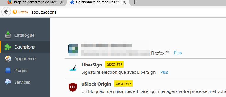 Firefox marque LiberSign 'obsolète'